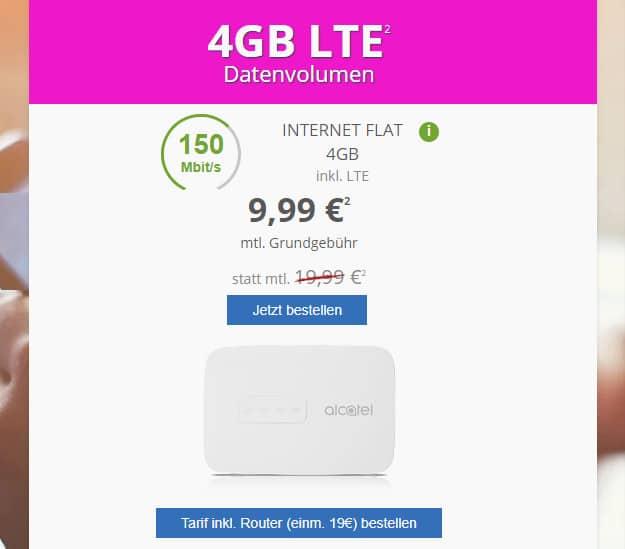mobilcom-debitel Internet-Flat 4.000 (Telekom-Netz) + Alcatel LTE-Hotspot - 4 GB LTE Datenflat