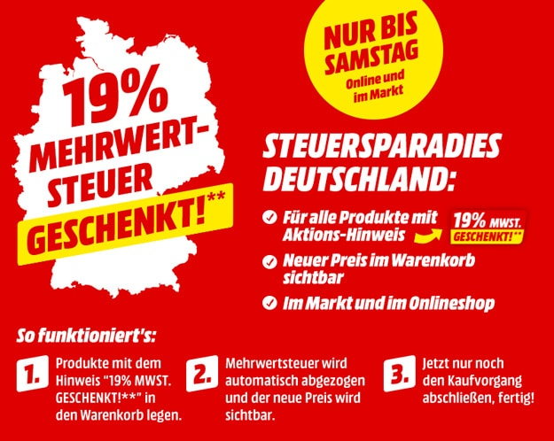 MediaMarkt 19% MwSt geschenkt