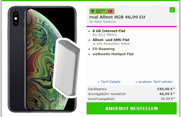 Apple iPhone Xs Max + Powerbank + mobilcom-debitel real Allnet (Telekom-Netz) bei mobildiscounter