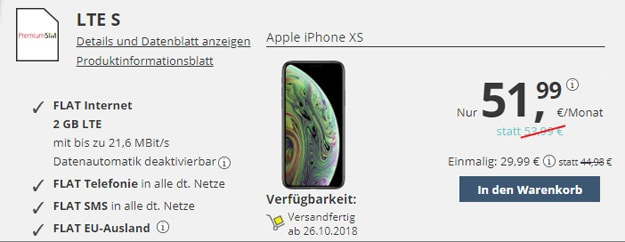 Apple iPhone Xs mit PremiumSIM Allnet-Flat LTE