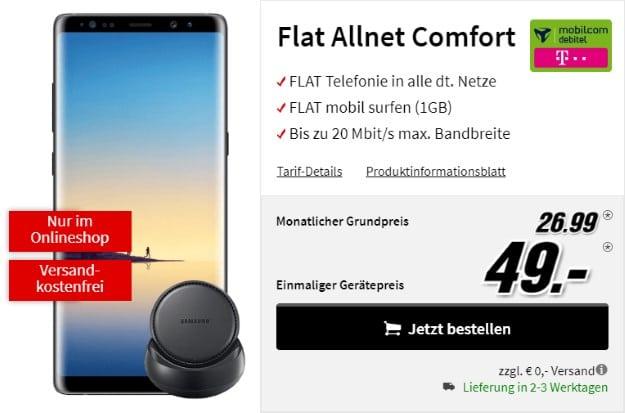 Samsung Galaxy Note 8 + Samsung DeX Station + mobilcom-debitel Flat Allnet Comfort (Telekom-Netz) bei MediaMarkt