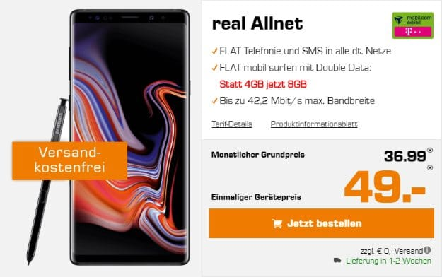 Samsung Galaxy Note 9 + mobilcom-debitel real Allnet (Telekom-Netz) bei Saturn