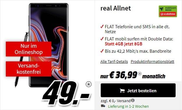Samsung Galaxy Note 9 + Vodafone real Allnet (mobilcom-debitel) bei MediaMarkt