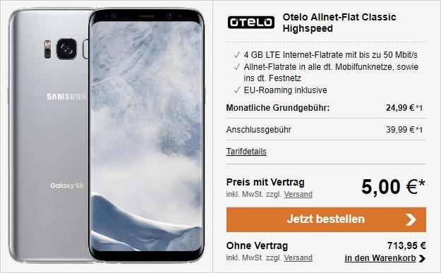 Samsung Galaxy S8 + otelo Allnet-Flat Classic Speed bei LogiTel