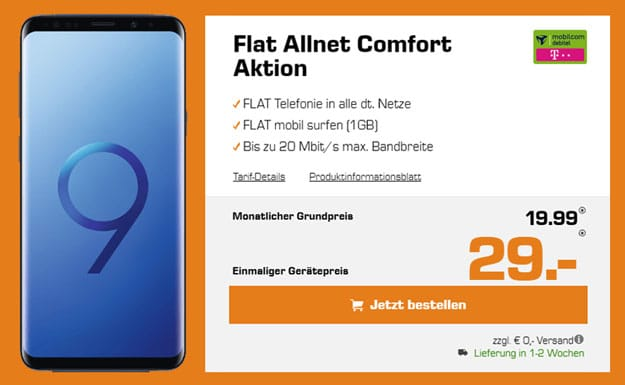 Galaxy S9 (Plus) + md Flat Allnet Comfort (Telekom) eff. kostenlos