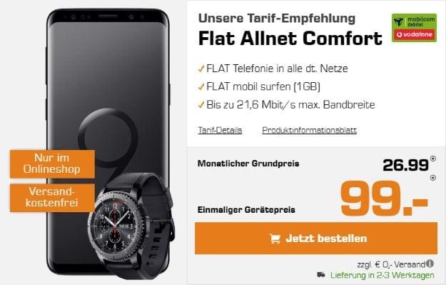 Samsung Galaxy S9 + Samsung Gear S3 Frontier + Vodafone Flat Allnet Comfort bei Saturn