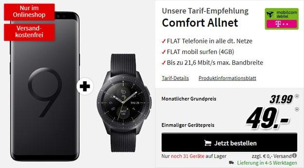 Samsung Galaxy S9 Plus + Samsung Galaxy Watch LTE (42mm) + mobilcom-debitel Comfort Allnet (Telekom-Netz) bei MediaMarkt