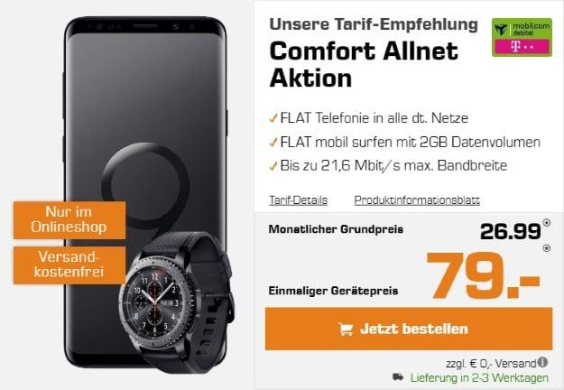Samsung Galaxy S9 Plus + Samsung Gear S3 Frontier + mobilcom-debitel Comfort Allnet (Telekom) bei Saturn