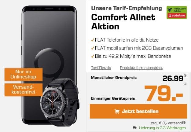 Samsung Galaxy S9 Plus + Samsung Gear S3 Frontier + Vodafone Comfort Allnet (mobilcom-debitel) bei Saturn