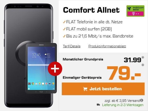 Samsung Galaxy S9 Plus + Samsung Galaxy Tab E 9.6 WiFi + mobilcom-debitel Comfort Allnet (Telekom-Netz) bei Saturn