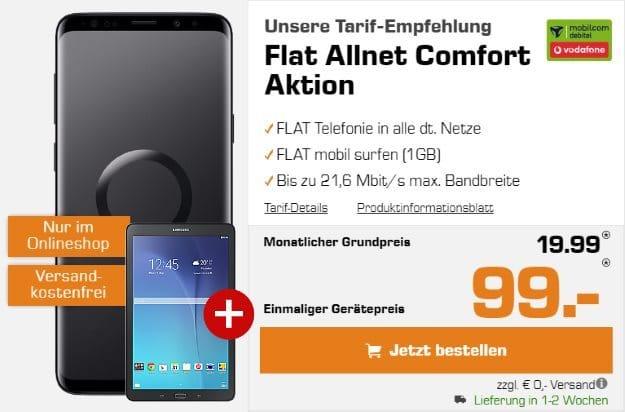 Samsung Galaxy S9 Plus + Galaxy Tab E 9.6 WiFi + Vodafone Flat Allnet Comfort (mobilcom-debitel) bei Saturn