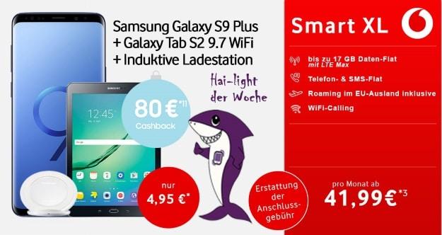 Samsung Galaxy S9 Plus + Galaxy Tab S2 9.7 WiFi + ind. Ladeschale + Vodafone Smart XL bei Talkthisway