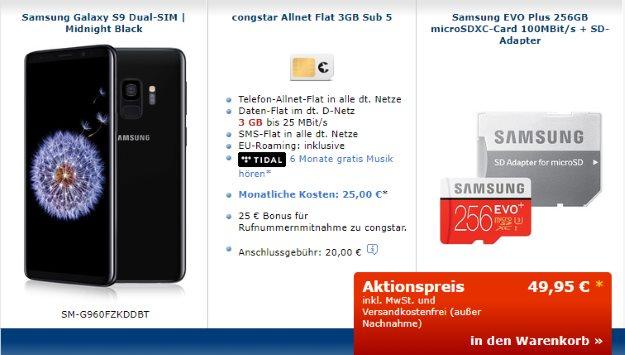 Samsung Galaxy S9 + Samsung EVO Plus 256GB microSD + congstar Allnet-Flat bei Mobileforyou