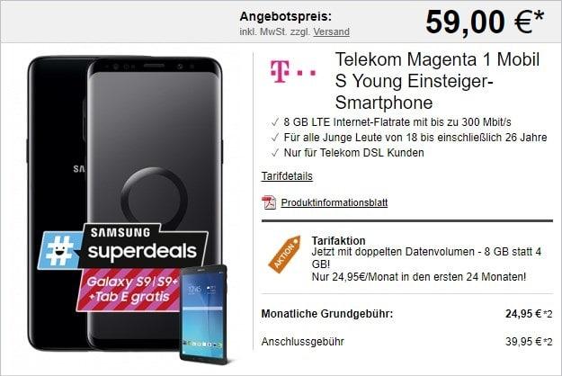 Samsung Galaxy S9 + Samsung Galaxy Tab E 9.6 WiFi + Telekom Magenta Mobil S mit MagentaEINS-Vorteil bei LogiTel