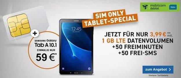 Samsung Galaxy Tab A 10.1 LTE (schwarz) + Telefónica Smart Surf (mobilcom-debitel) bei LogiTel