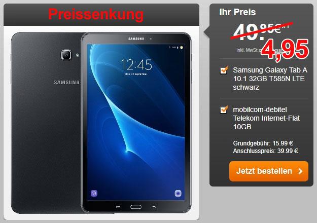 Samsung Galaxy Tab A 10.1 LTE + mobilcom-debitel Internet-Flat mit 10 GB LTE (Telekom-Netz!)