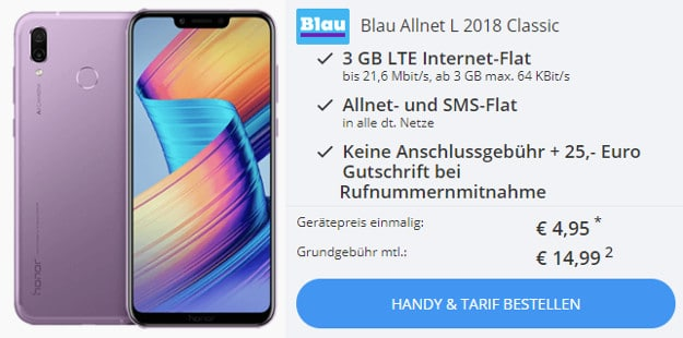 Honor Play für 4,95 € + Blau Allnet L
