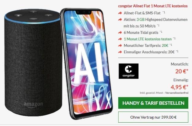 Huawei Mate 20 Lite + Amazon Echo + Congstar Allnet Flat bei Preisboerse24
