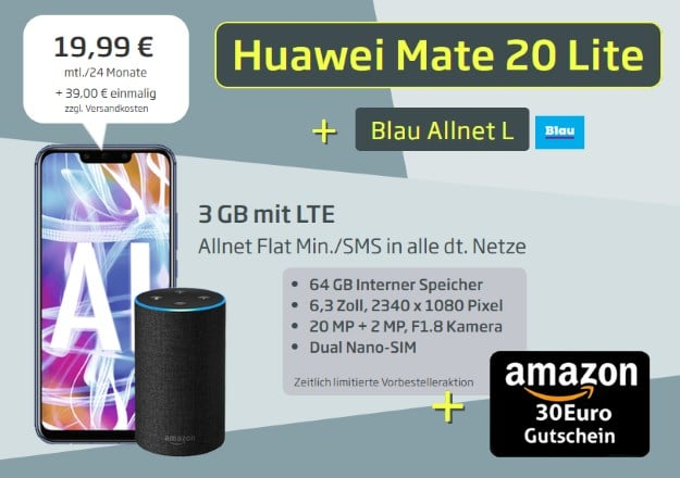 Huawei Mate 20 lite + Amazon Echo + Blau Allnet L bei Curved