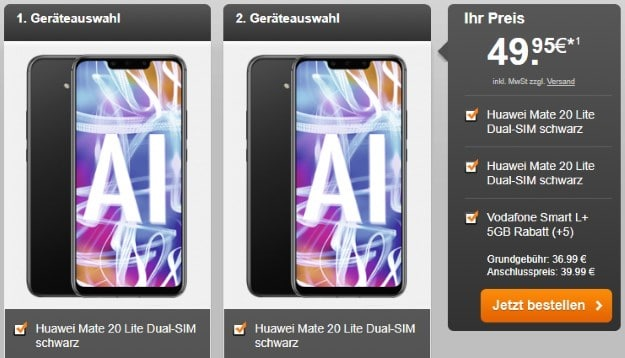 2x Huawei Mate 20 Lite + Vodafone Smart L Plus bei Handyflash
