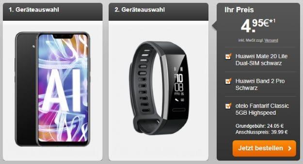 Huawei Mate 20 lite + Huawei Band 2 Pro + otelo Fan-Tarif Classic Highspeed bei Handyflash