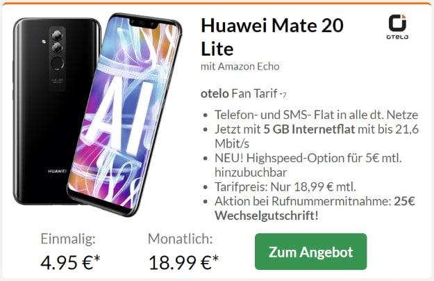 Huawei Mate 20 lite + Amazon Echo + otelo Fan-Tarif bei Preisboerse24