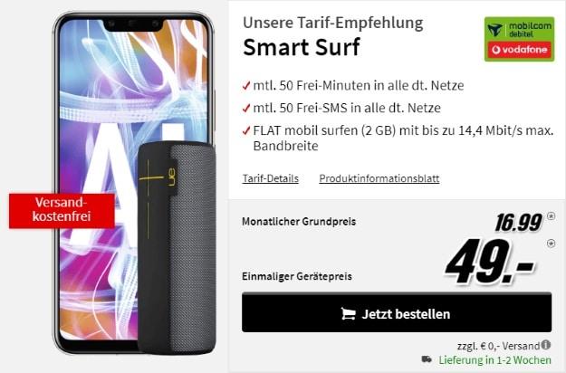 Huawei Mate 20 lite + Ultimate Ears Megaboom Schwarz + Vodafone Smart Surf (mobilcom-debitel) bei MediaMarkt