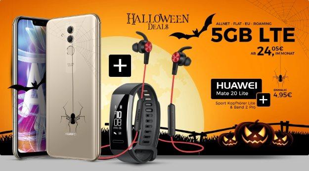 Huawei Mate 20 lite + Huawei AM61 Sport lite + Huawei Band 2 Pro + otelo Fan-Tarif Classic LTE bei Handyflash
