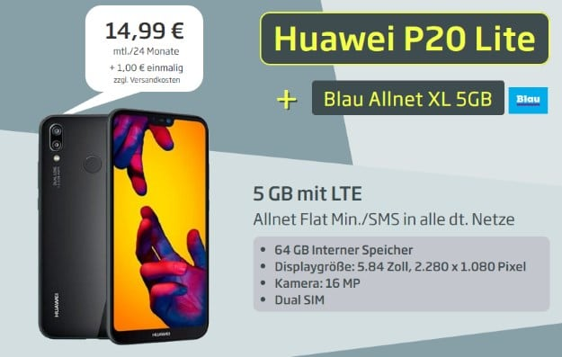 Huawei P20 Lite + Blau Allnet XL bei Curved