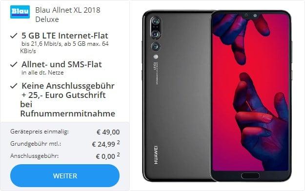Huawei P20 Pro + Blau Allnet XL bei Sparhandy