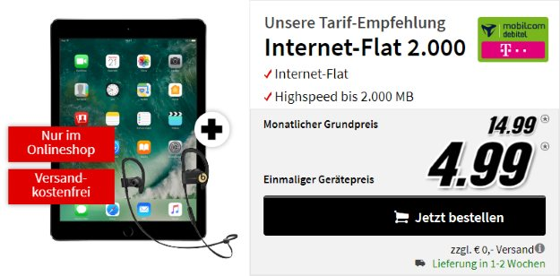 Apple iPad 2017 WiFi+Cellular 32GB + mobilcom-debitel Internet-Flat 2.000 (Telekom-Netz) bei MediaMarkt
