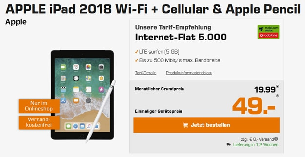 ipad 2018 wifi vodafone 5gb lte
