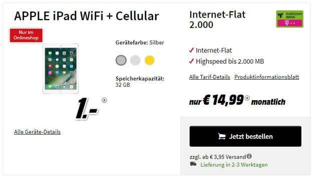 Apple iPad 2017 LTE + md Internet-Flat 2.000 eff. 3,99 € pro Monat (2 GB LTE, Telekom-Netz)