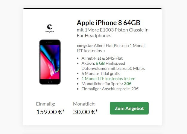 Apple iPhone 8 64GB + congstar Allnet-Flat Plus bei Preisboerse24