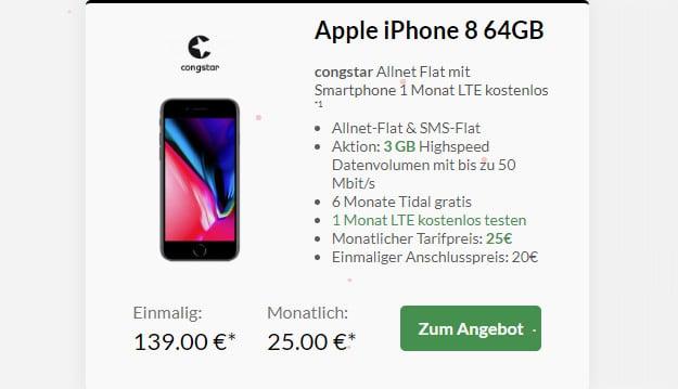 iphone 8 + congstar - lte testen