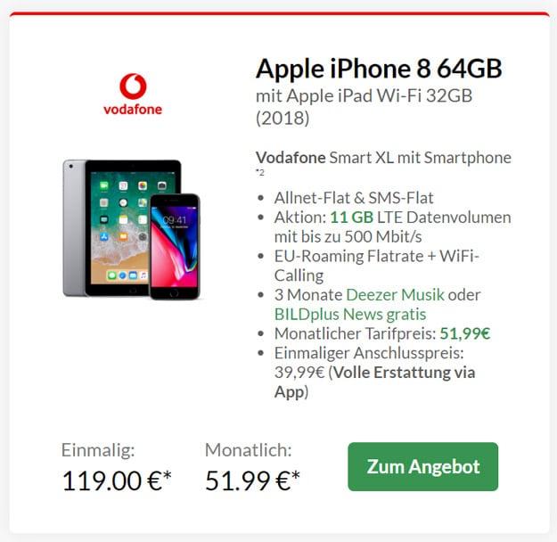 Apple iPhone 8 mit Apple iPad 2018 + Vodafone Smart XL