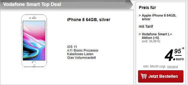 iPhone 8 64GB für 4,95 € + Vodafone Smart L Plus (Young)