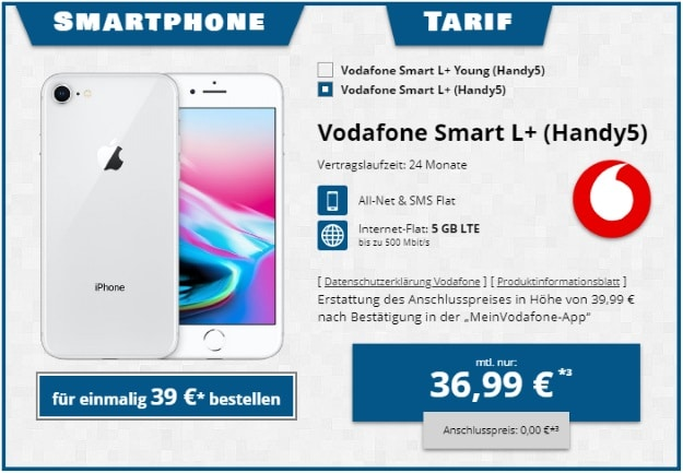 Apple iPhone 8 64GB + Vodafone Smart L Plus bei Tophandy