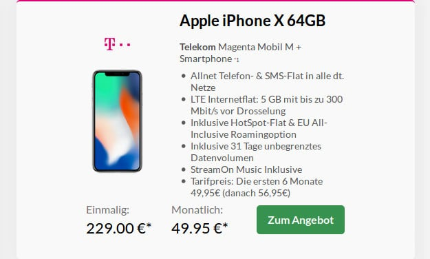 iPhone X 64GB + Telekom Magenta Mobil M (Young)