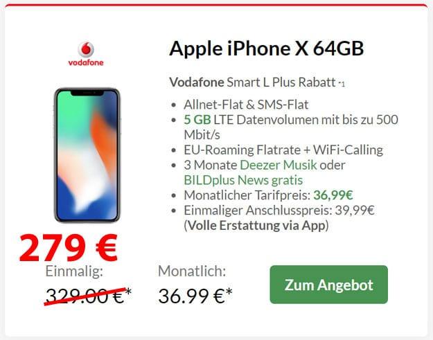 Apple iPhone X mit Vodafone Smart L Plus