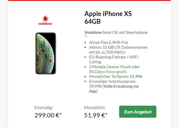 iPhone Xs + Vodafone Smart XL