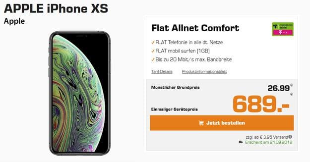 Apple iPhone Xs 64GB/256GB/512GB + Flat Allnet Comfort Telekom (md)