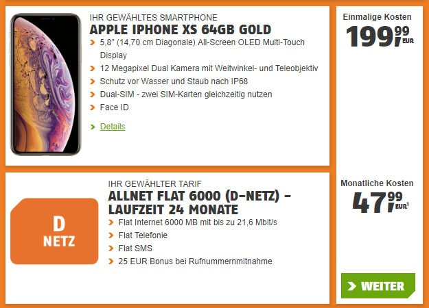 iPhone Xs + klarmobil Allnet-Flat