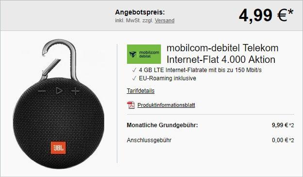 JBL Clip 3 + mobilcom-debitel 4 GB LTE Telekom Datentarif