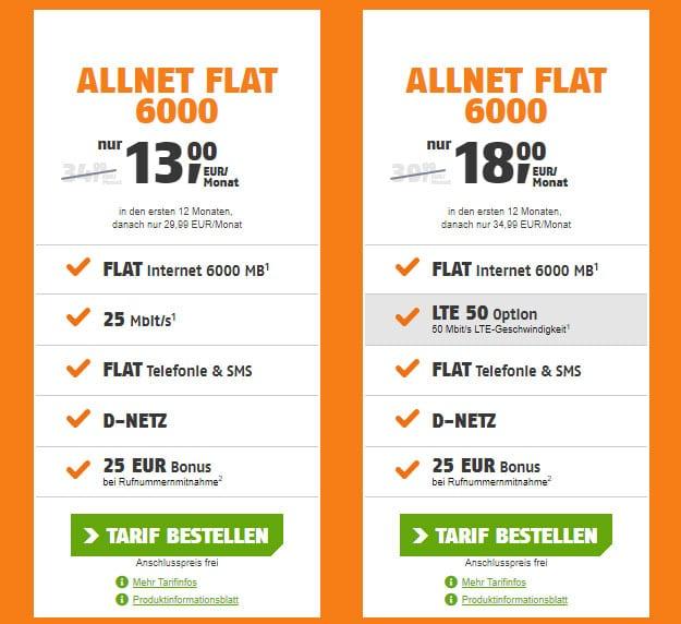 Jetzt im Telekom-Netz! klarmobil Allnet-Flat 6000