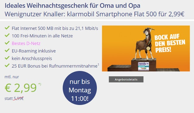 klarmobil smartphone flat 500 telekom netz