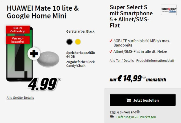 Huawei Mate 10 lite + Google Home Mini + o2 Super Select S bei MediaMarkt