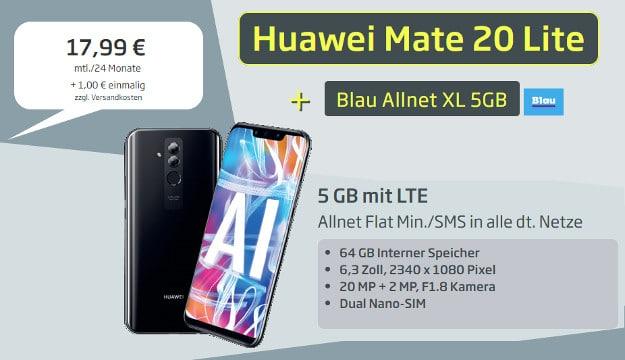 Huawei Mate 20 lite für 1 € + Blau Allnet XL