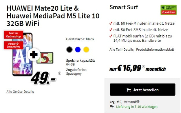 Huawei Mate 20 Lite + Huawei MediaPad M5 10 Lite WiFi + mobilcom-debitel Smart Surf (Vodafone) bei MediaMarkt