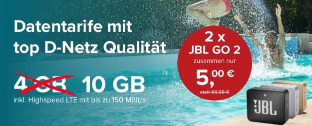 mobilcom-debitel Internet-Flat 10.000 (Telekom-Netz) + 2x JBL Go 2 bei Tarifhaus